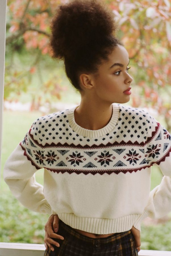 urban outfitter cropped fair isle sweater